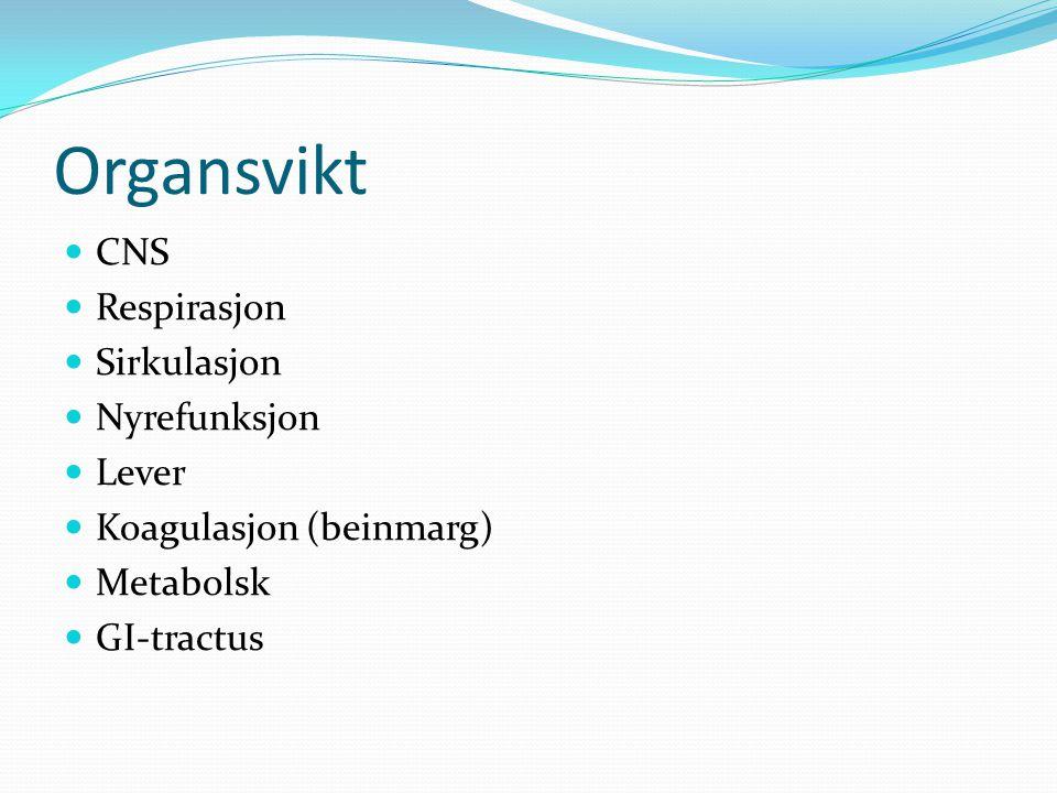 Organsvikt CNS Respirasjon Sirkulasjon Nyrefunksjon Lever Koagulasjon (beinmarg) Metabolsk GI-tractus