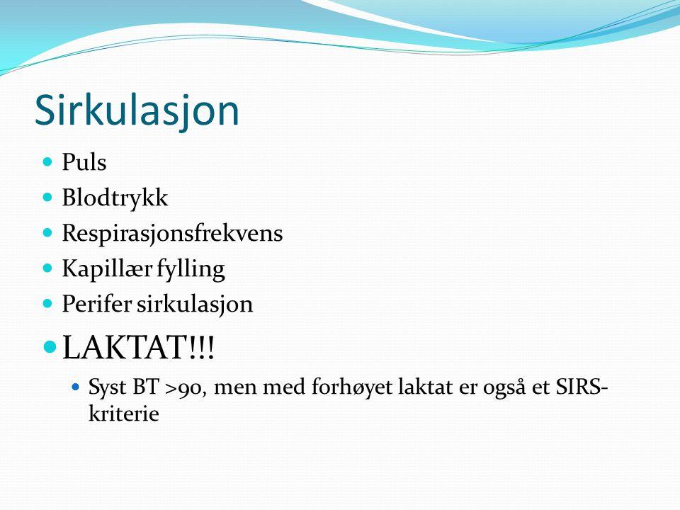 Sirkulasjon Puls Blodtrykk Respirasjonsfrekvens Kapillær fylling Perifer sirkulasjon LAKTAT!!! Syst BT >90, men med forhøyet laktat er også et SIRS- k