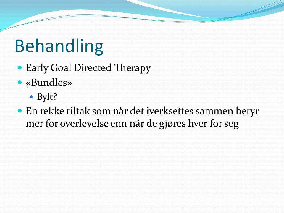 Behandling Early Goal Directed Therapy «Bundles» Bylt? En rekke tiltak som når det iverksettes sammen betyr mer for overlevelse enn når de gjøres hver