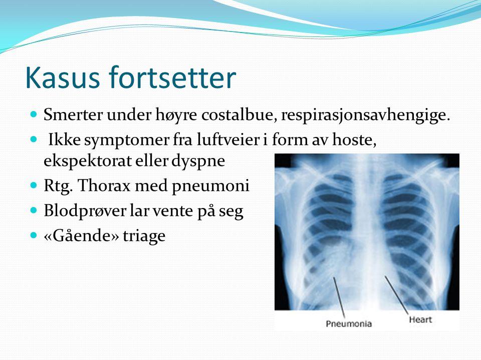 Kasus fortsetter Smerter under høyre costalbue, respirasjonsavhengige. Ikke symptomer fra luftveier i form av hoste, ekspektorat eller dyspne Rtg. Tho
