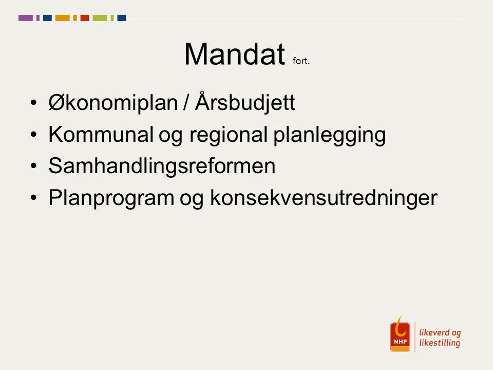 Mandat fort. Økonomiplan / Årsbudjett Kommunal og regional planlegging Samhandlingsreformen Planprogram og konsekvensutredninger