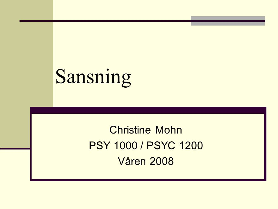 Sansning Christine Mohn PSY 1000 / PSYC 1200 Våren 2008