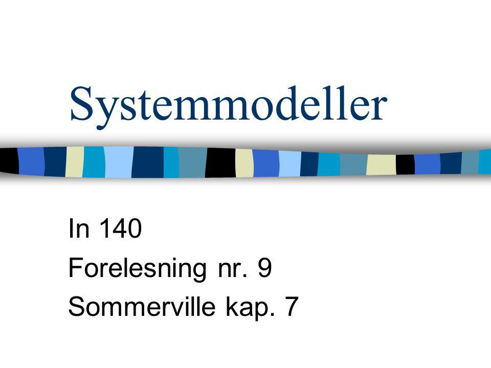 Systemmodeller In 140 Forelesning nr. 9 Sommerville kap. 7