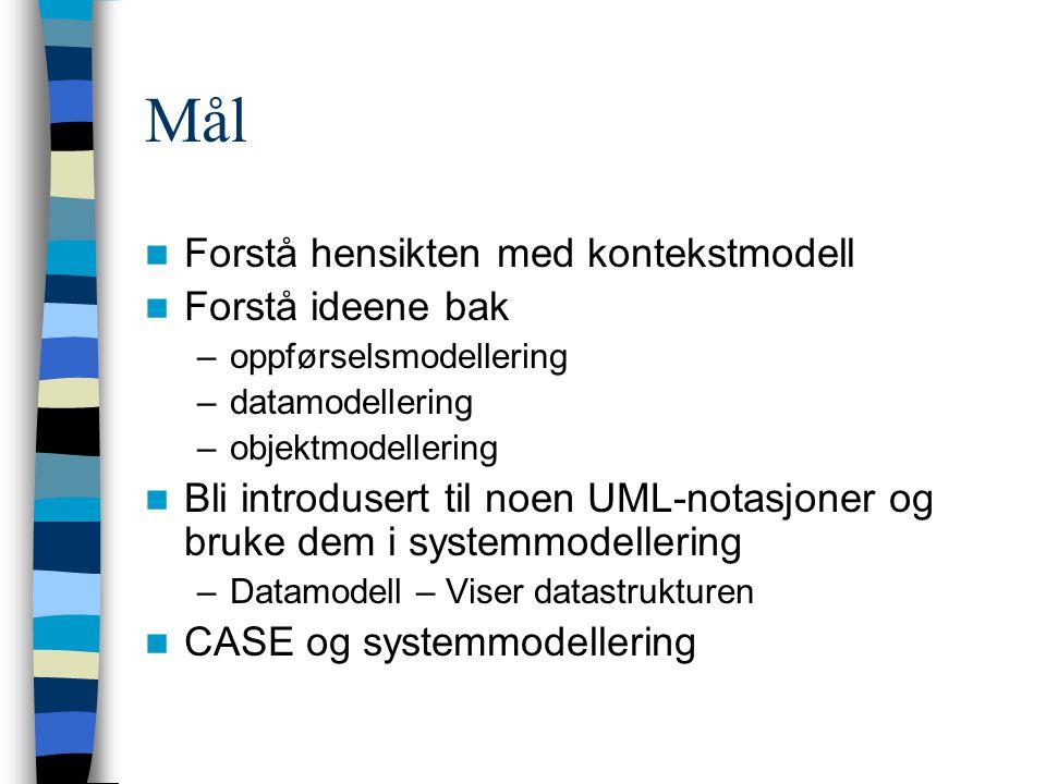 Mål Forstå hensikten med kontekstmodell Forstå ideene bak –oppførselsmodellering –datamodellering –objektmodellering Bli introdusert til noen UML-notasjoner og bruke dem i systemmodellering –Datamodell – Viser datastrukturen CASE og systemmodellering