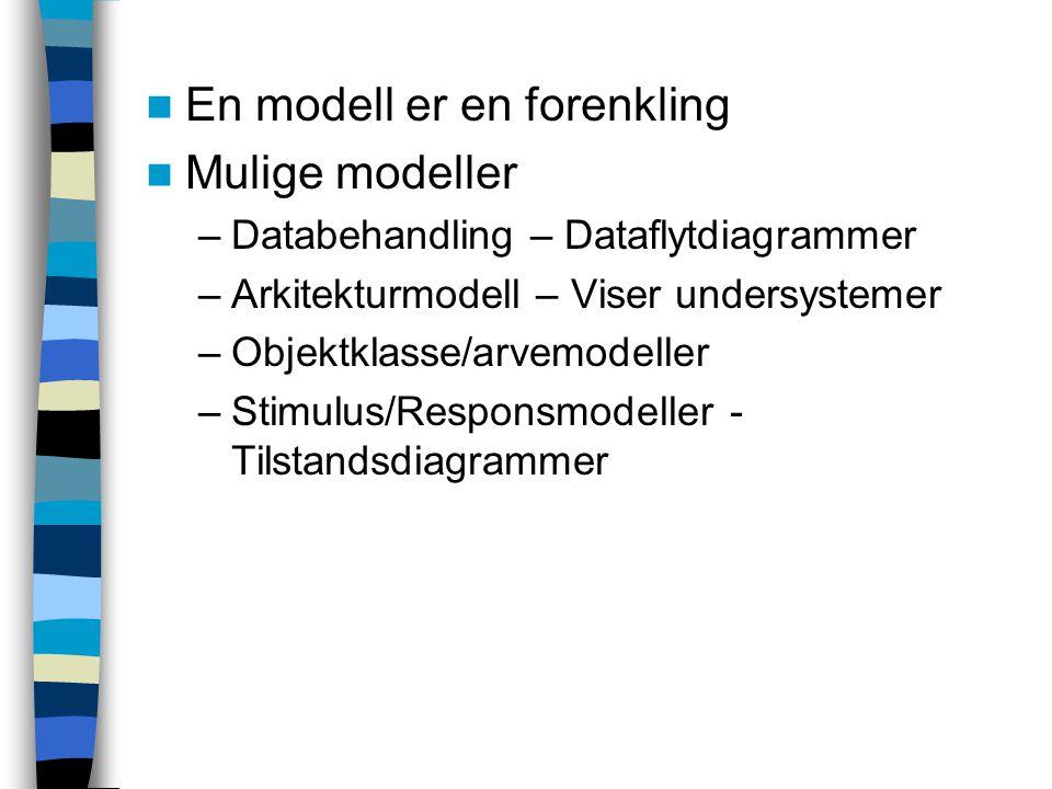En modell er en forenkling Mulige modeller –Databehandling – Dataflytdiagrammer –Arkitekturmodell – Viser undersystemer –Objektklasse/arvemodeller –Stimulus/Responsmodeller - Tilstandsdiagrammer