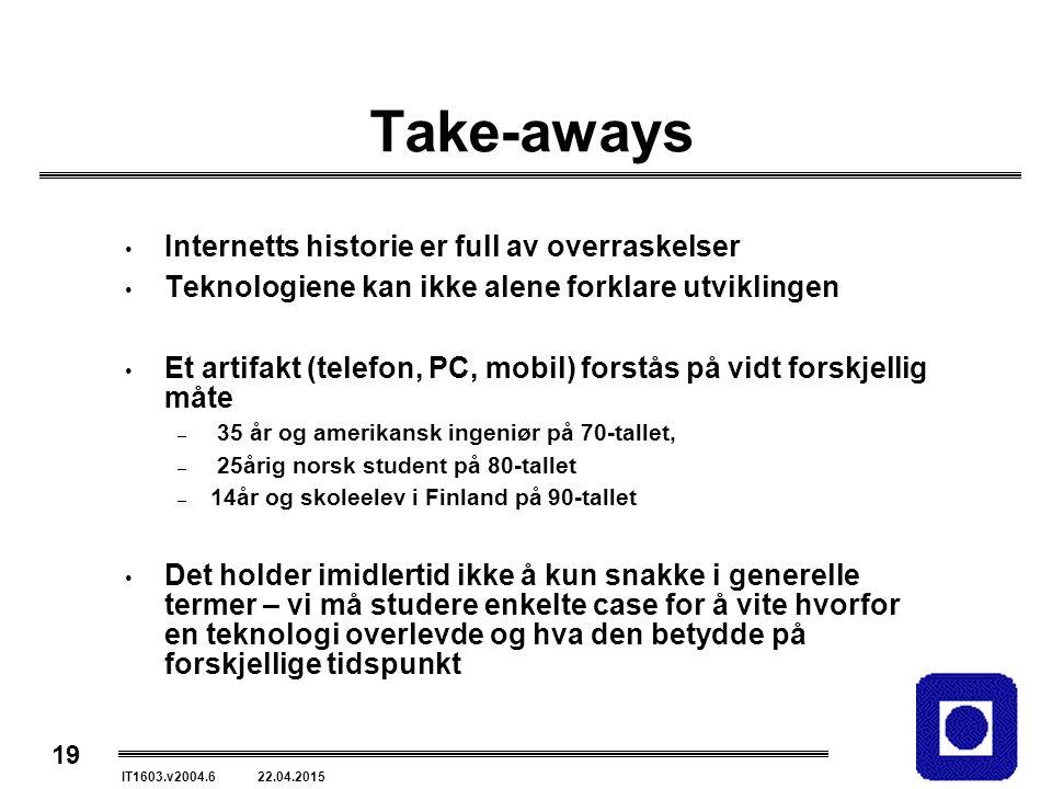 19 IT1603.v2004.6 22.04.2015 Take-aways Internetts historie er full av overraskelser Teknologiene kan ikke alene forklare utviklingen Et artifakt (telefon, PC, mobil) forstås på vidt forskjellig måte – 35 år og amerikansk ingeniør på 70-tallet, – 25årig norsk student på 80-tallet – 14år og skoleelev i Finland på 90-tallet Det holder imidlertid ikke å kun snakke i generelle termer – vi må studere enkelte case for å vite hvorfor en teknologi overlevde og hva den betydde på forskjellige tidspunkt