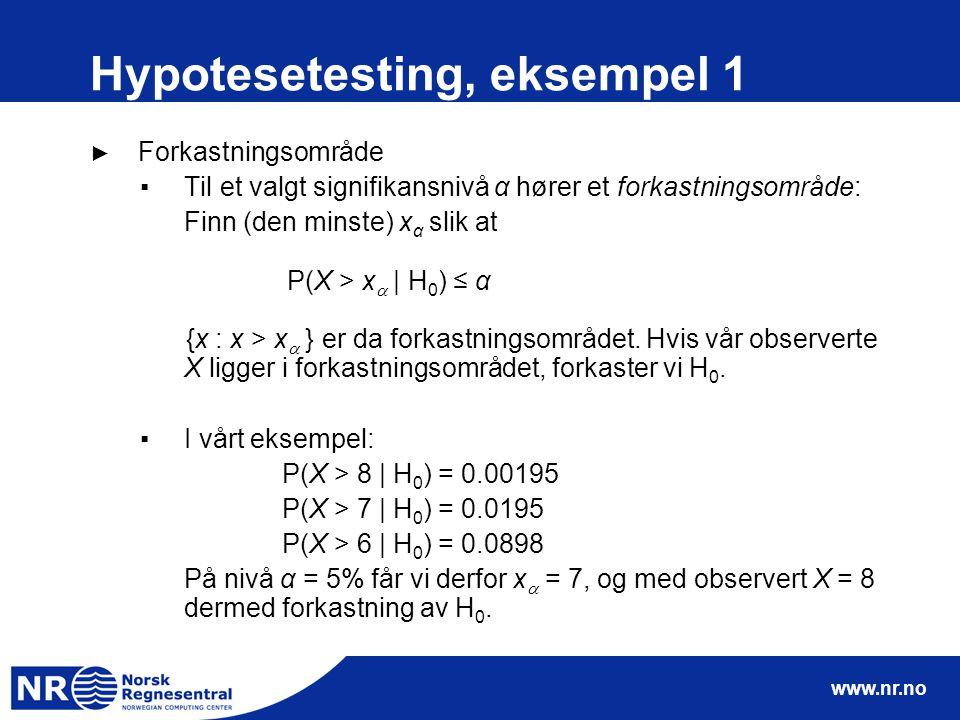 www.nr.no Hypotesetesting, eksempel 1 ► Forkastningsområde ▪Til et valgt signifikansnivå α hører et forkastningsområde: Finn (den minste) x α slik at