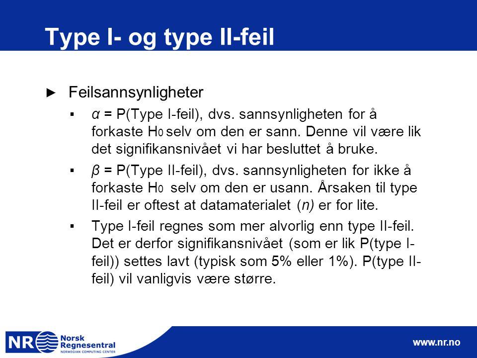 www.nr.no Type I- og type II-feil ► Feilsannsynligheter ▪α = P(Type I-feil), dvs. sannsynligheten for å forkaste H 0 selv om den er sann. Denne vil væ