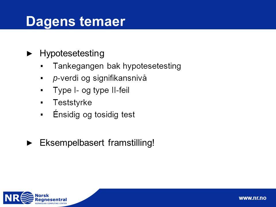 www.nr.no Dagens temaer ► Hypotesetesting ▪Tankegangen bak hypotesetesting ▪p-verdi og signifikansnivå ▪Type I- og type II-feil ▪Teststyrke ▪Énsidig o