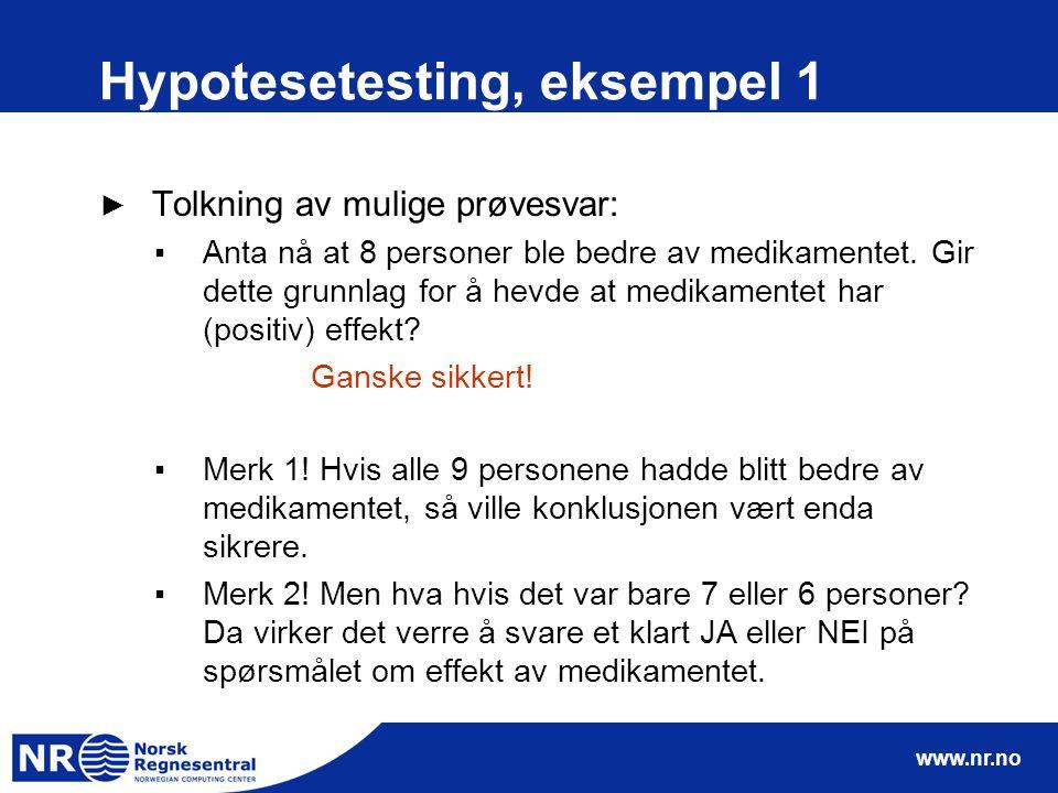 www.nr.no Hypotesetesting, eksempel 1 ► Tolkning av mulige prøvesvar: ▪Anta nå at 8 personer ble bedre av medikamentet. Gir dette grunnlag for å hevde