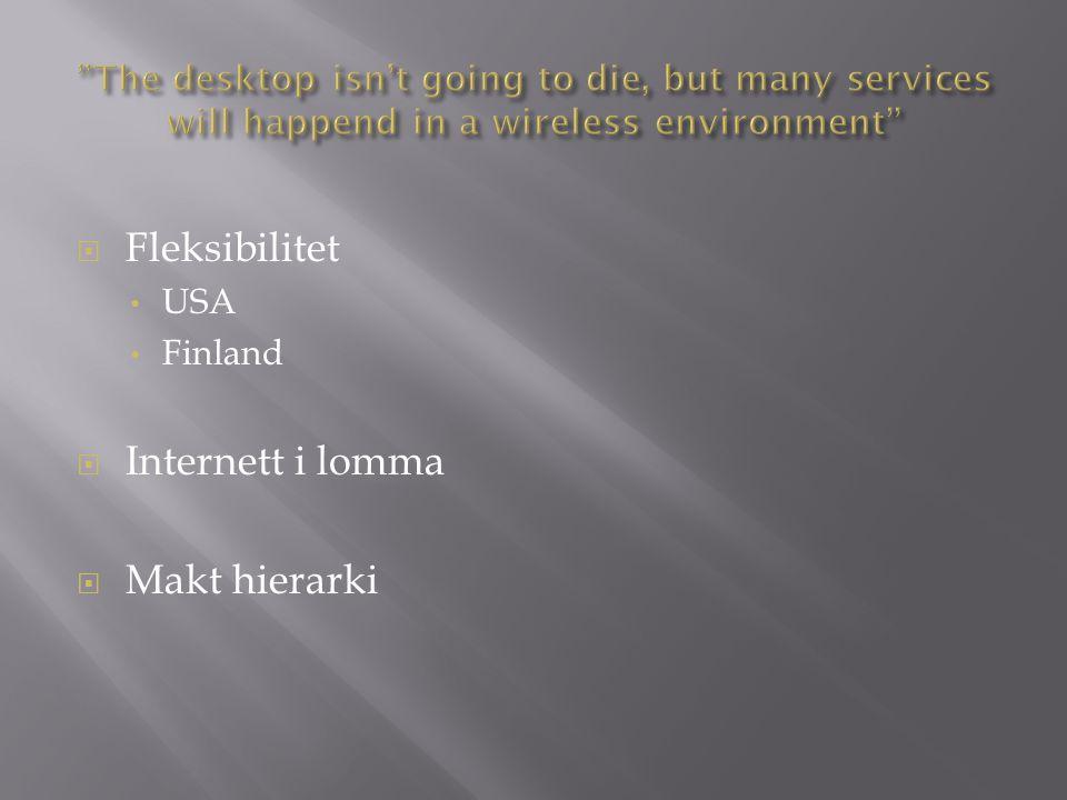  Fleksibilitet USA Finland  Internett i lomma  Makt hierarki