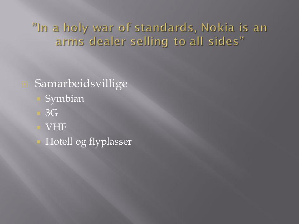  Samarbeidsvillige  Symbian  3G  VHF  Hotell og flyplasser