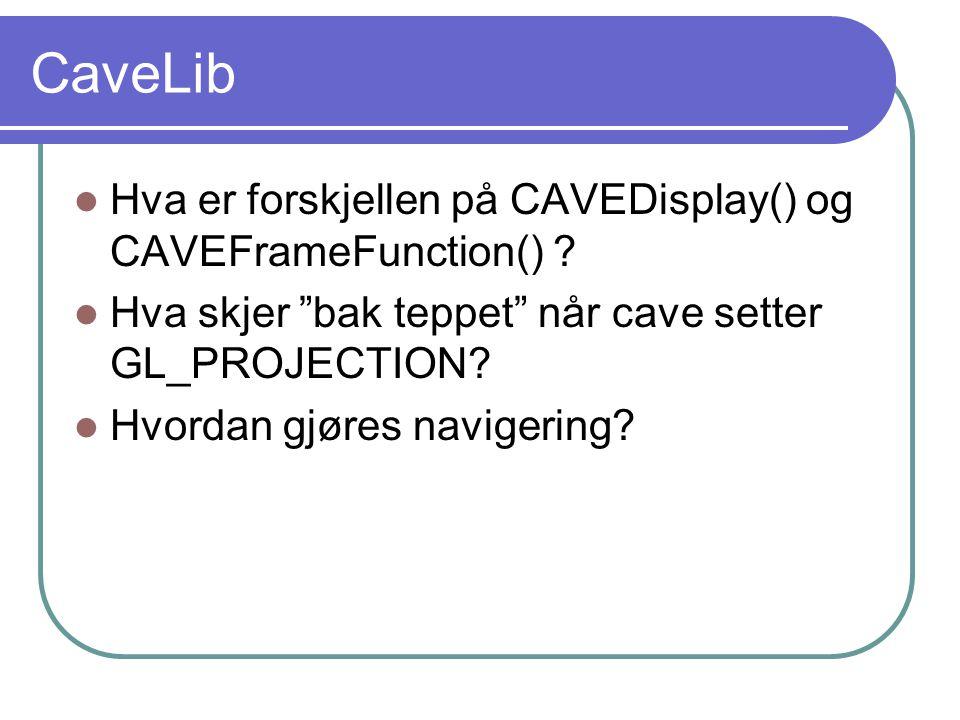 CaveLib Hva er forskjellen på CAVEDisplay() og CAVEFrameFunction() .