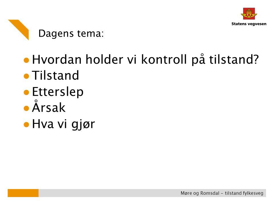 Dagens tema: ● Hvordan holder vi kontroll på tilstand? ● Tilstand ● Etterslep ● Årsak ● Hva vi gjør Møre og Romsdal - tilstand fylkesveg