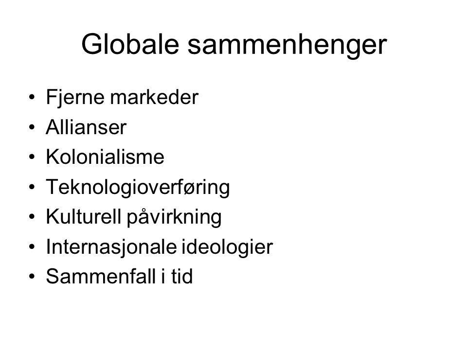 Globale sammenhenger Fjerne markeder Allianser Kolonialisme Teknologioverføring Kulturell påvirkning Internasjonale ideologier Sammenfall i tid