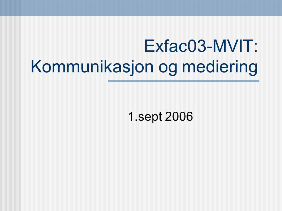1.sept 2006 Exfac03-MVIT: Kommunikasjon og mediering