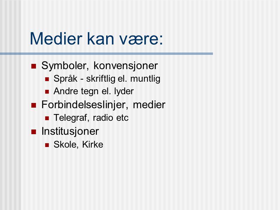 """2. Hovedbegrep: Medium / media,latin for midten, midterst Utvidet: Det som ligger imellom. Det som formidler, medierer. """"All kommunikasjon forutsetter"""
