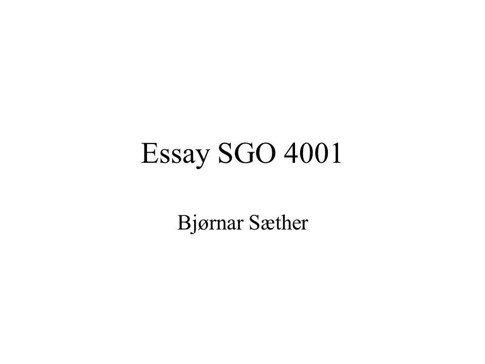 Essay SGO 4001 Bjørnar Sæther