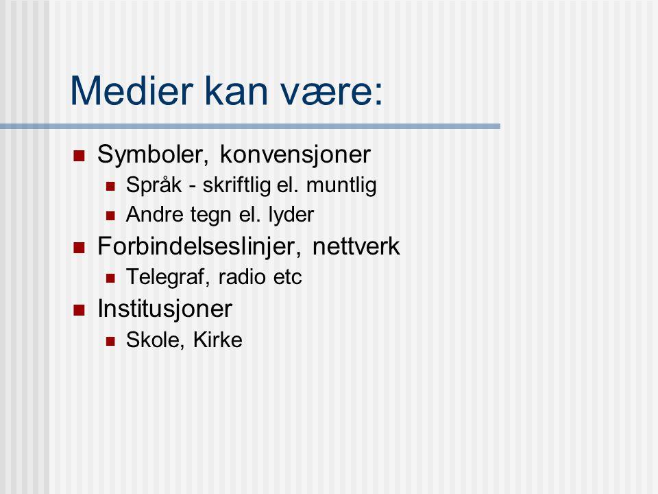 2. Hovedbegrep: Medium Medium/media: latin for midten, midterst Det som ligger imellom.
