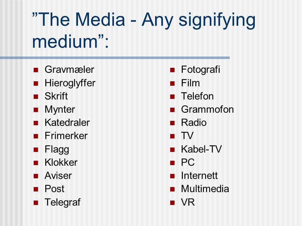 Medier kan være: Symboler, konvensjoner Språk - skriftlig el. muntlig Andre tegn el. lyder Forbindelseslinjer, nettverk Telegraf, radio etc Institusjo