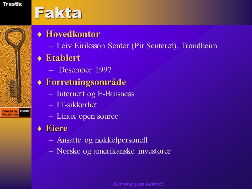 Trustix Serving you better!Fakta  Hovedkontor –Leiv Eiriksson Senter (Pir Senteret), Trondheim  Etablert – Desember 1997  Forretningsområde –Internett og E-Buisness –IT-sikkerhet –Linux open source  Eiere –Ansatte og nøkkelpersonell –Norske og amerikanske investorer