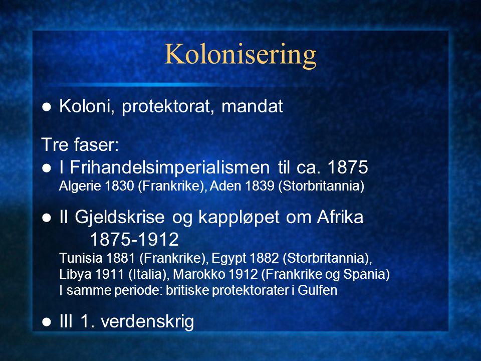 Kolonisering Koloni, protektorat, mandat Tre faser: I Frihandelsimperialismen til ca. 1875 Algerie 1830 (Frankrike), Aden 1839 (Storbritannia) II Gjel
