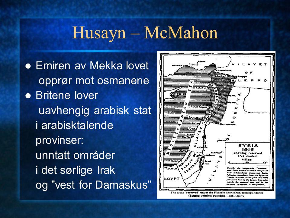 Husayn – McMahon Emiren av Mekka lovet opprør mot osmanene Britene lover uavhengig arabisk stat i arabisktalende provinser: unntatt områder i det sørl
