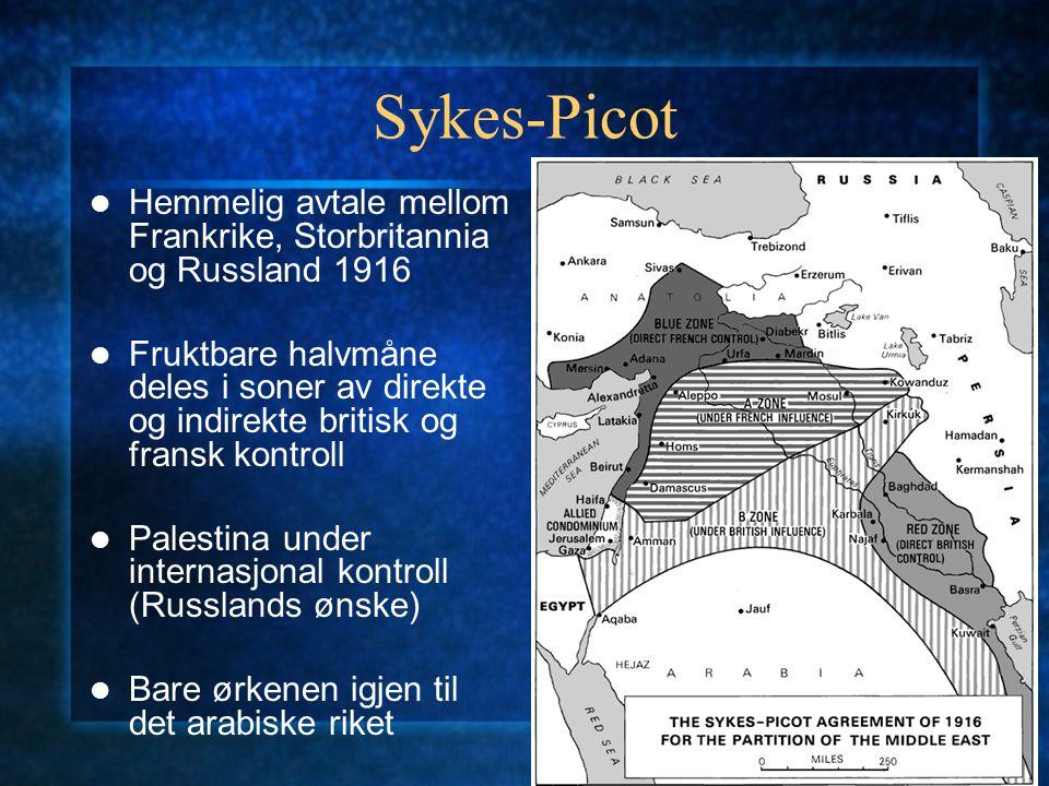 Sykes-Picot Hemmelig avtale mellom Frankrike, Storbritannia og Russland 1916 Fruktbare halvmåne deles i soner av direkte og indirekte britisk og frans