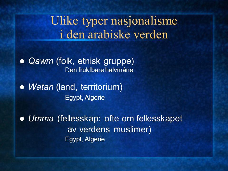 Ulike typer nasjonalisme i den arabiske verden Qawm (folk, etnisk gruppe) Den fruktbare halvmåne Watan (land, territorium) Egypt, Algerie Umma (felles