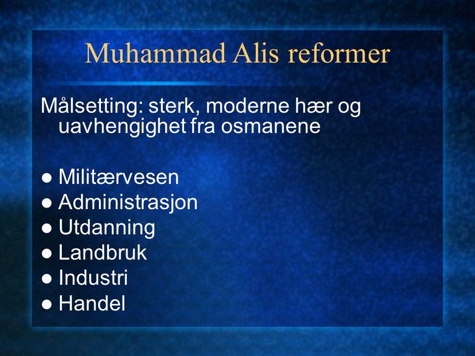Muhammad Alis reformer Målsetting: sterk, moderne hær og uavhengighet fra osmanene Militærvesen Administrasjon Utdanning Landbruk Industri Handel