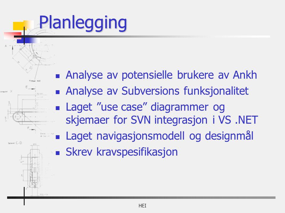 Planlegging Analyse av potensielle brukere av Ankh Analyse av Subversions funksjonalitet Laget use case diagrammer og skjemaer for SVN integrasjon i VS.NET Laget navigasjonsmodell og designmål Skrev kravspesifikasjon