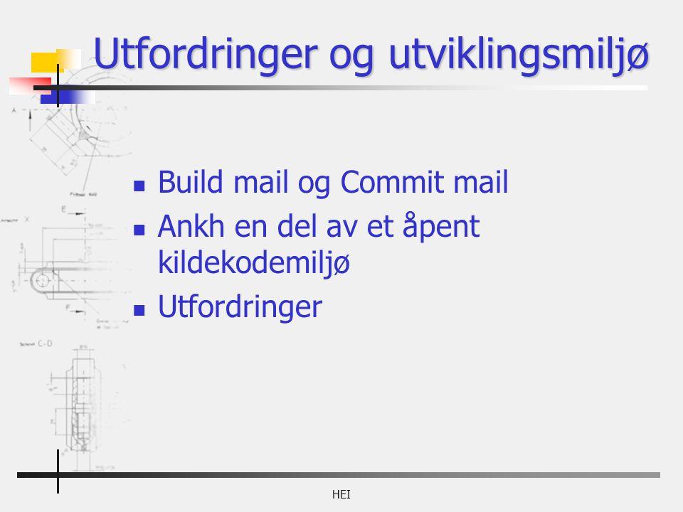 HEI Utfordringer og utviklingsmiljø Build mail og Commit mail Ankh en del av et åpent kildekodemiljø Utfordringer