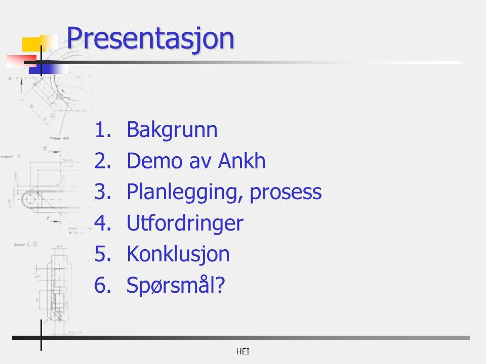 HEI Presentasjon 1.Bakgrunn 2.Demo av Ankh 3.Planlegging, prosess 4.Utfordringer 5.Konklusjon 6.Spørsmål