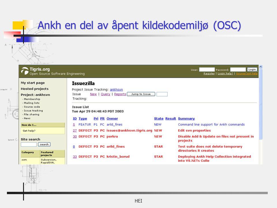HEI Ankh en del av åpent kildekodemiljø (OSC)