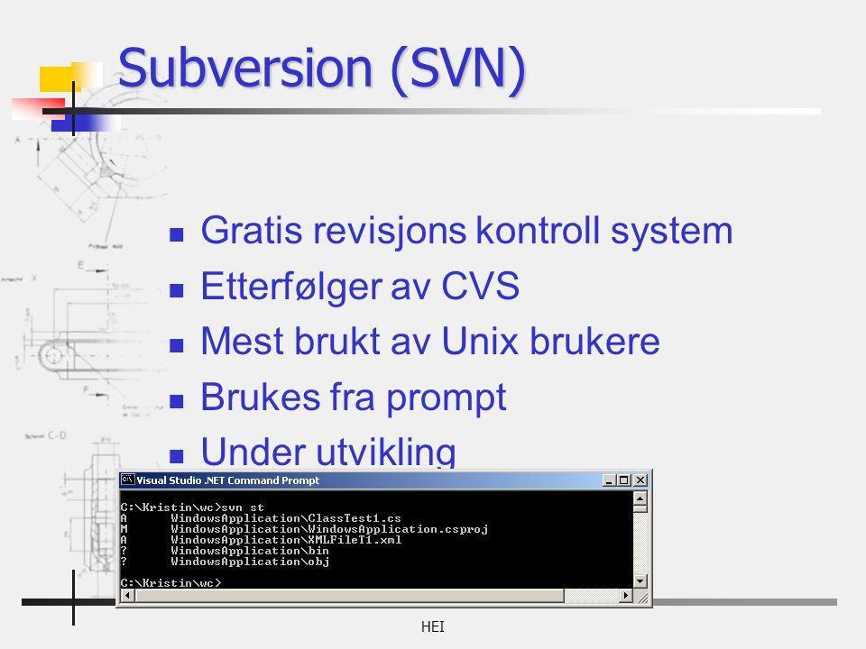 Subversion (SVN) Gratis revisjons kontroll system Etterfølger av CVS Mest brukt av Unix brukere Brukes fra prompt Under utvikling