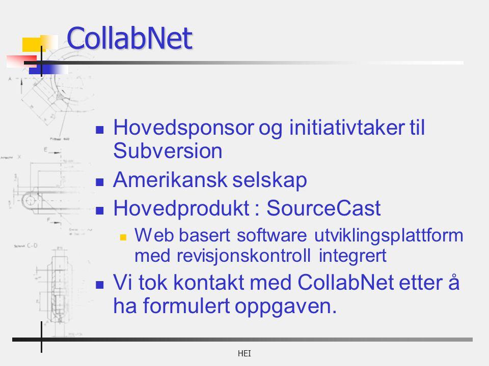 HEI Hovedsponsor og initiativtaker til Subversion Amerikansk selskap Hovedprodukt : SourceCast Web basert software utviklingsplattform med revisjonskontroll integrert Vi tok kontakt med CollabNet etter å ha formulert oppgaven.