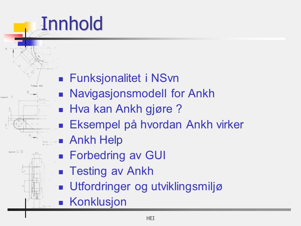 HEI Innhold Funksjonalitet i NSvn Navigasjonsmodell for Ankh Hva kan Ankh gjøre .