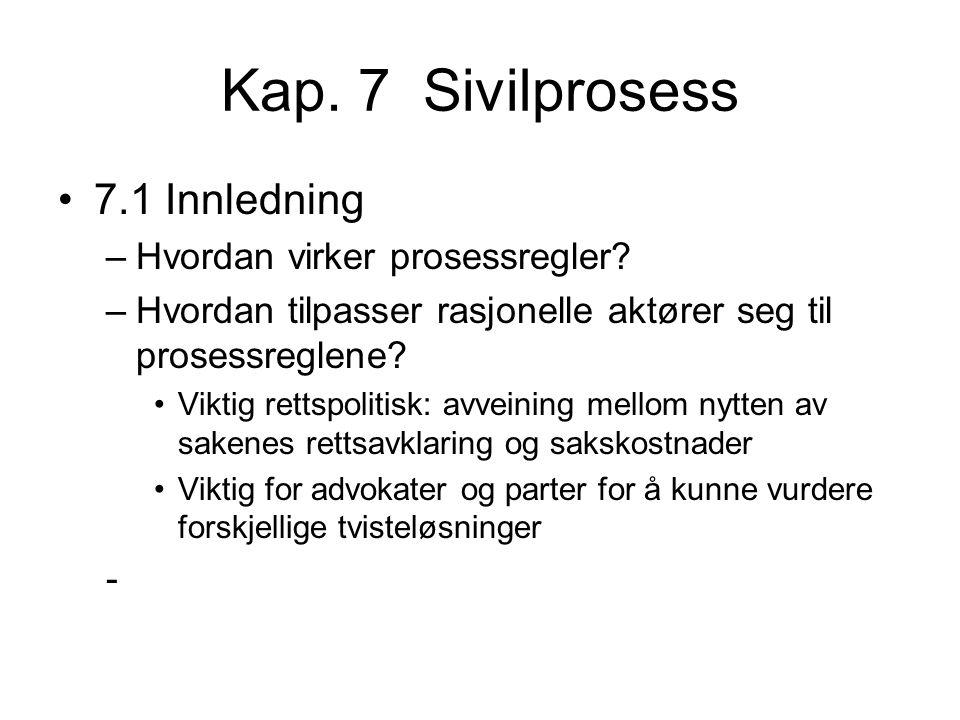 Kap. 7 Sivilprosess 7.1 Innledning –Hvordan virker prosessregler? –Hvordan tilpasser rasjonelle aktører seg til prosessreglene? Viktig rettspolitisk: