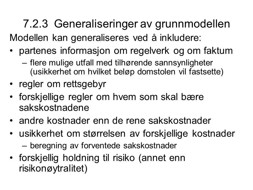 7.2.3 Generaliseringer av grunnmodellen Modellen kan generaliseres ved å inkludere: partenes informasjon om regelverk og om faktum –flere mulige utfal