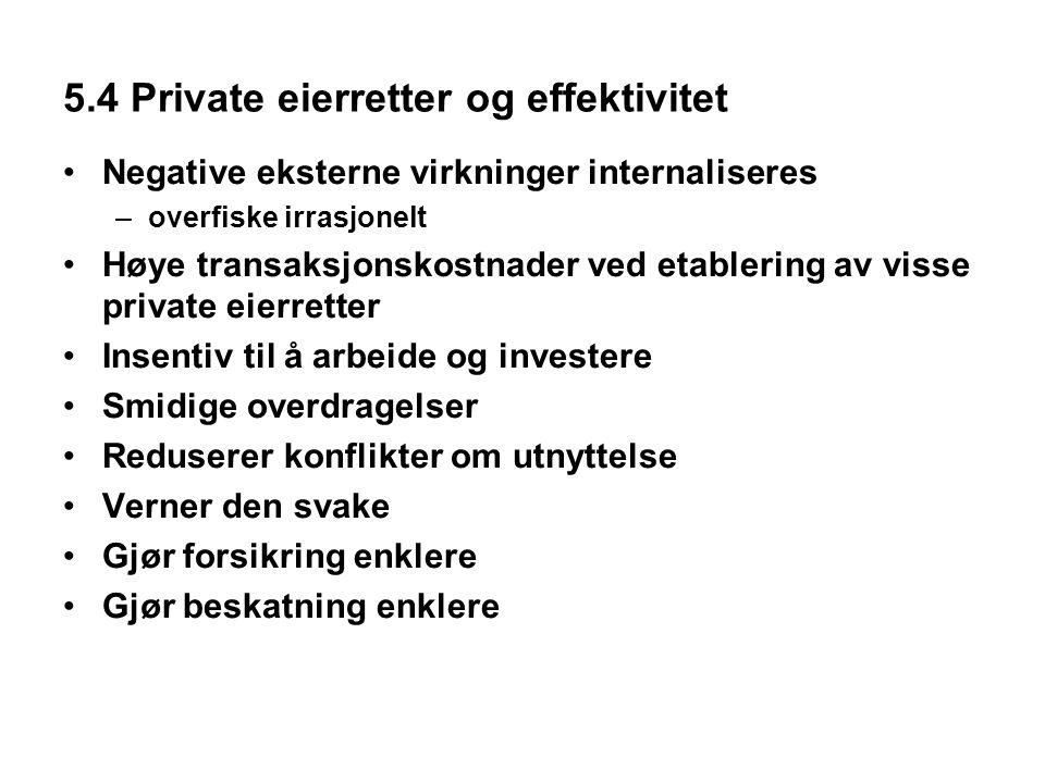 5.4 Private eierretter og effektivitet Negative eksterne virkninger internaliseres –overfiske irrasjonelt Høye transaksjonskostnader ved etablering av