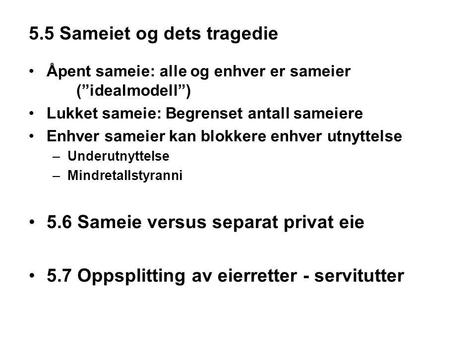 """5.5 Sameiet og dets tragedie Åpent sameie: alle og enhver er sameier (""""idealmodell"""") Lukket sameie: Begrenset antall sameiere Enhver sameier kan blokk"""