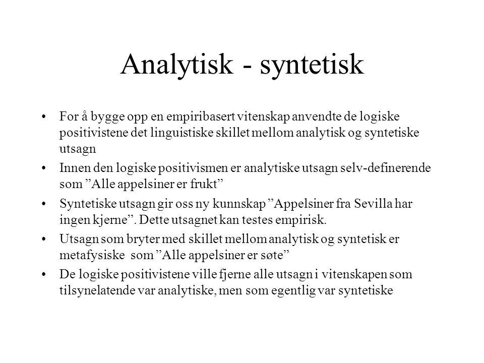 Analytisk - syntetisk For å bygge opp en empiribasert vitenskap anvendte de logiske positivistene det linguistiske skillet mellom analytisk og synteti