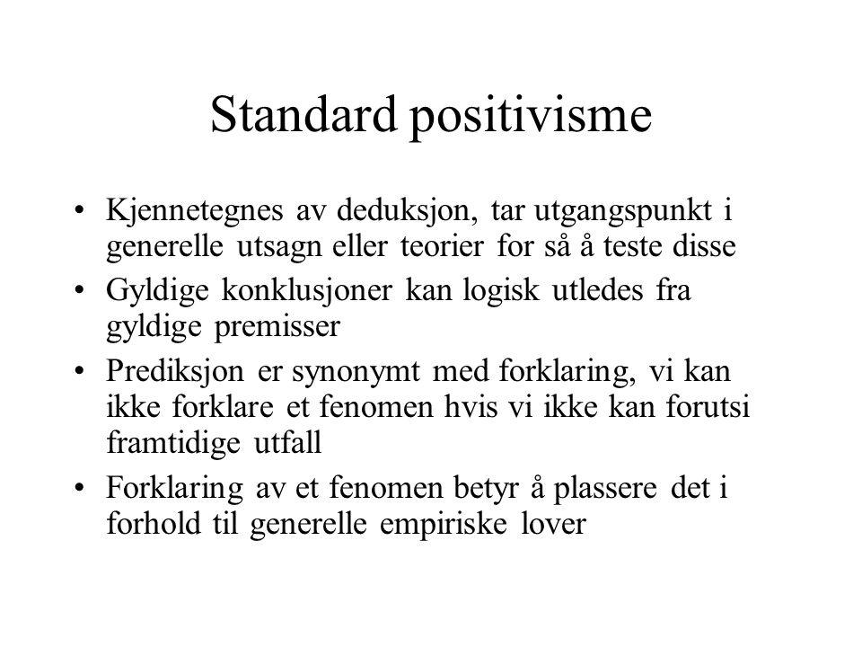 Standard positivisme Kjennetegnes av deduksjon, tar utgangspunkt i generelle utsagn eller teorier for så å teste disse Gyldige konklusjoner kan logisk