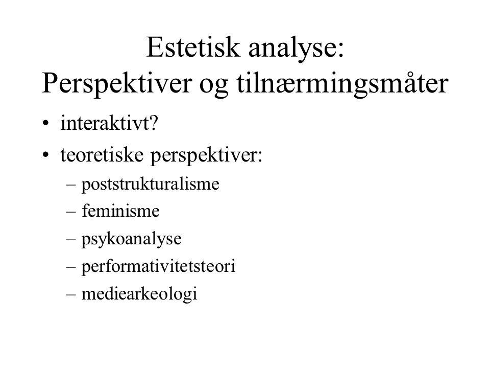 Estetisk analyse: Perspektiver og tilnærmingsmåter interaktivt.