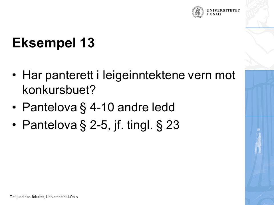 Det juridiske fakultet, Universitetet i Oslo Eksempel 13 Har panterett i leigeinntektene vern mot konkursbuet.
