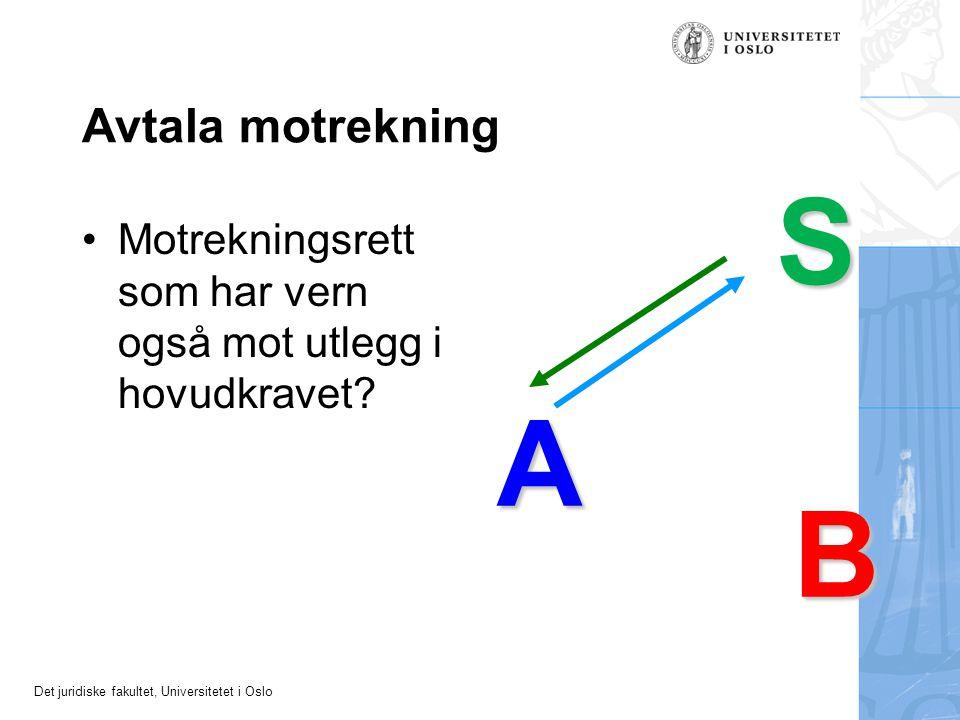 Det juridiske fakultet, Universitetet i Oslo Avtala motrekning Motrekningsrett som har vern også mot utlegg i hovudkravet.
