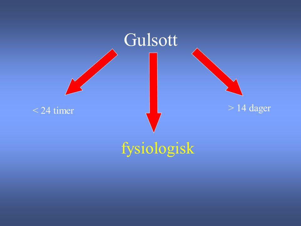 Gulsott < 24 timer fysiologisk > 14 dager