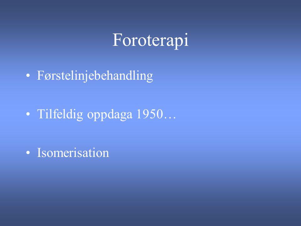 Foroterapi Førstelinjebehandling Tilfeldig oppdaga 1950… Isomerisation