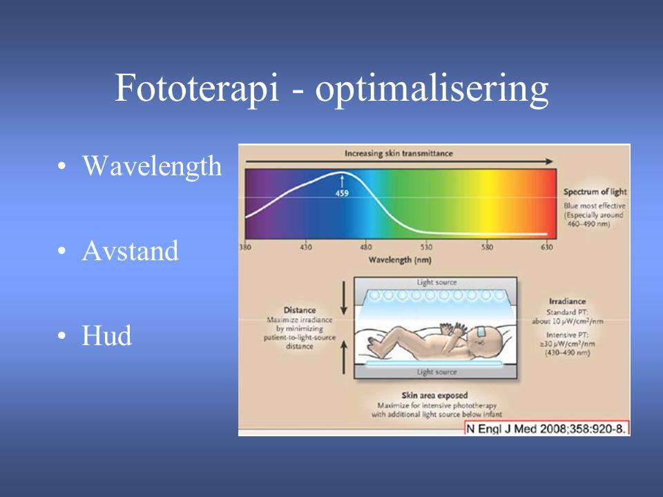 Fototerapi - optimalisering Wavelength Avstand Hud