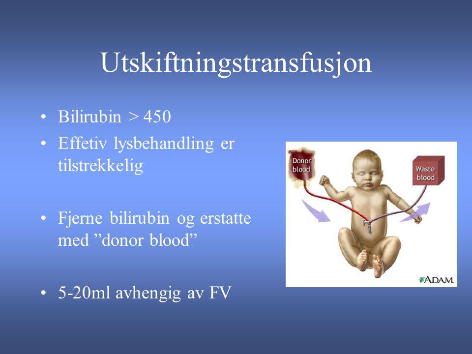 Utskiftningstransfusjon Bilirubin > 450 Effetiv lysbehandling er tilstrekkelig Fjerne bilirubin og erstatte med donor blood 5-20ml avhengig av FV
